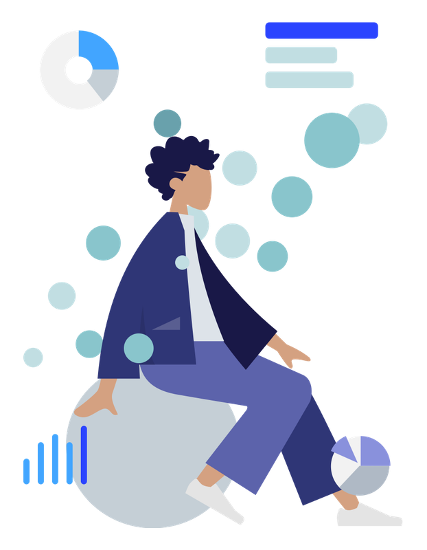 Graphic of a person surrounded by chart imagery